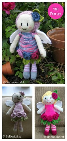 The Adorable Doll Free Knitting Pattern is an ideal project when you have some cool scrap yarns to be used for dress, hair or some accessories. Knitted Dolls Dress Pattern, Knitting Dolls Free Patterns, Knitted Dolls Free, Teddy Bear Knitting Pattern, Knitted Doll Patterns, Crochet Dolls, Free Knitting, Knitting Toys, Free Crochet