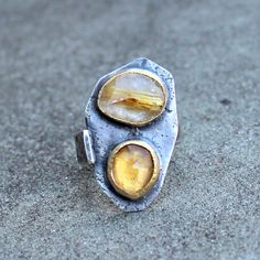 Rose Cut Citrine Ring - Rose Cut Gold Rutilated Quartz - Double Gem Ring - 2 Stone Ring - Rustic Silver - Textured Silver Ring - 18 KT Gold by lsueszabo on Etsy https://www.etsy.com/listing/230943814/rose-cut-citrine-ring-rose-cut-gold