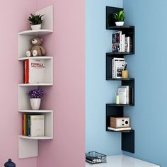 5 tier corner shelf rack floating wall shelves storage display books home d Corner Shelf Design, Bookshelf Design, Wall Shelves Design, Corner Shelves, White Corner Shelf Unit, Wall Shelves For Books, Wall Shelving, Shelving Units, Wall Mounted Shelves