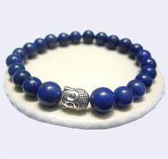 Meditation Bracelet - Blue Lapis Lazuli, Stretch Men Bracelet -Third Eye Chakra- Handmade - Natural Stones - Zodiac: Taurus, Sagittarius de ArtGemStones en Etsy