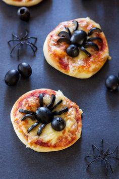 Mini Spider Pizzas | Recipe Runner | Spooky fun mini pizzas using delicious black olives!