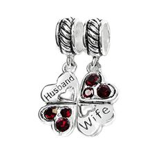 925 Sterling Silver Husband Wife Red Rhinestone Clover Heart European Dangle Charm *** Want additional info? Click on the image.