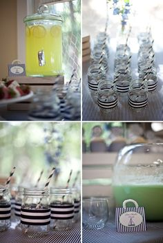 Jars with navy and white striped wraps and straws - nautical themed baby shower