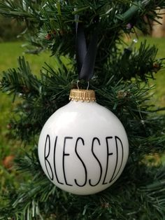 Blessed White and Black Rustic Christmas Ornament