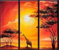 Resultado de imagen para cuadros africanos tripticos