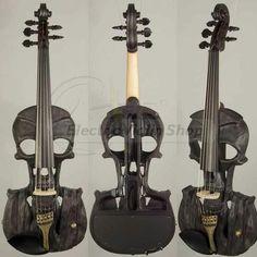 Black skull electric violin