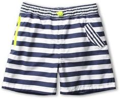 Stella McCartney Kids - Taylor Boys Striped Swimshort (Toddler/Little Kids/Big Kids) (White/Navy) - Apparel