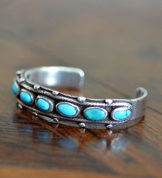 Navajo Old Pawn- Turquoise Row Cuff Western Jewelry, Indian Jewelry, Vintage Jewelry, Turquoise Cuff, Turquoise Earrings, Southwest Jewelry, Native American Jewelry, Sterling Silver Jewelry, Jewelry Accessories