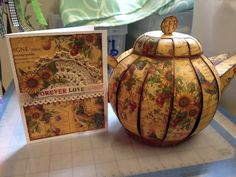 Teapot box and matching card made with Graphic 45 French Country and SVGcuts 3d Paper Projects, Craft Projects, Paper Crafts, Craft Ideas, Decoupage, Teacup Crafts, Matching Cards, French Provincial, Graphic 45