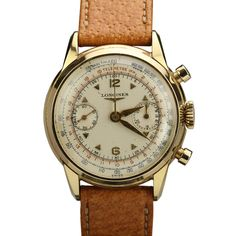 Longines Yellow Gold Chronograph Wristwatch Ref 5965 | See more rare vintage Wrist Watches at https://www.1stdibs.com/jewelry/watches/wrist-watches
