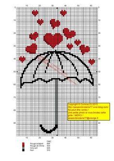 """Umbrella heart """"Umbrella heart x-stitch"""" Cross Stitch Heart, Cross Stitch Cards, Cute Cross Stitch, Cross Stitching, Embroidery Hearts, Cross Stitch Embroidery, Embroidery Patterns, Wedding Cross Stitch Patterns, Cross Stitch Designs"""