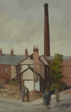 ROGER HAMPSON (1925 - 1996) OIL PAINTING ON BOARD `Demolition, Hyndburn Road, Accrington` signed,