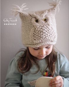 Baby Knitting Patterns, Knitting For Kids, Knitted Owl, Knitted Hats, Crochet Hats, Booties Crochet, Cable Knitting, Owl Hat, Etsy