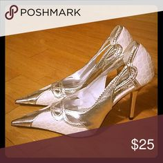 Worn once! White and silver high heel shoes; worn once; Shoes Heels