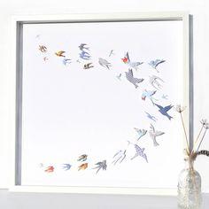 Original Papercut 'Flock Of Birds' Artwork