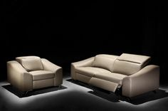 Stylish Design Furniture - Moroni 559 Tanus Top Grain Full Leather Power Dual Motion Sofa