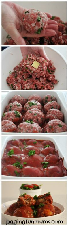 Mumma's Cheesy Tomato Meat Balls. So delicious and easy to make - a winner for the whole family!