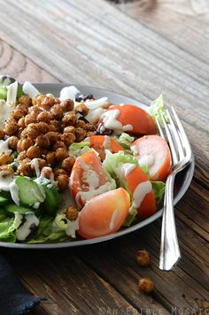 Falafel-Spiced Roasted Chickpea Salad with Tahini Dressing