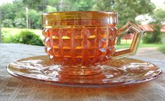 Marigold Carnival Glass Tea Cup and Saucer by VintageGlassEscape