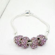 Handmade bracelet 4 purple big hole beads on silvertone snake chain size 8 #Pat2 #European