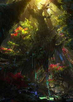 64 Best Ideas For Digital Art Fantasy Landscape Forests Trees – Landscaping 2020 Digital Art Fantasy, Fantasy Concept Art, Fantasy Artwork, Environment Concept Art, Environment Design, Fantasy Places, Fantasy World, Fantasy Landscape, Landscape Art