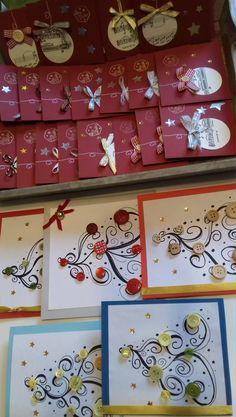 Karácsonyi ajándék képeslap, üdvözlőkártya újrafelhasznált anyagokból: színes kartonok, szalagmaradékok, gombok, apró díszek, megmaradt matricák, aranyfilc, régi kottapapír. Advent Calendar, Holiday Decor, Home Decor, Decoration Home, Room Decor, Advent Calenders, Home Interior Design, Home Decoration, Interior Design