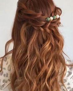Half Up Wedding Hair, Long Hair Wedding Styles, Wedding Hairstyles For Long Hair, Wedding Hair And Makeup, Braided Hairstyles, Long Hair Styles, School Hairstyles, Hairstyle Short, Office Hairstyles