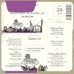 Las Vegas Skyline Plane Ticket Wedding Invitation By Pixiechicago