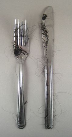Annie Tung, Mourning 2007, cutlery sewn with hair