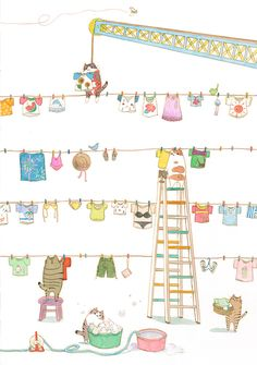 Gatos, gatos everywhere Illustration Mignonne, Clothes Line, Children's Book Illustration, Cute Drawings, Cat Art, Illustrations Posters, Cute Pictures, Photos, Prints