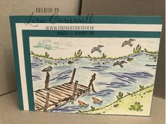 Sitting by the dock of the bay comes to mind whenever I get this stamp set out to create a watery scene. Die cuts add so much value to the set. Dock Of The Bay, Stampin Up, Vintage World Maps, Journey, Scene, Create, Cards, Stamping Up, The Journey