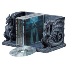 Keep your collection of fantasy books or DVDs perfectly organized with the Design Toscano Blackmore Dragons Library Holder . Two realistic dragons stand. Medieval Dragon, Medieval Gothic, Cd Holder, Book Holders, Desk Accessories, Decorative Accessories, Die Renaissance, Crushed Stone, Gothic House