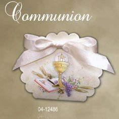 Holy First Communion Favor Boxes $0.99 each (Made in Italy) - holds 2 small chocolates or 5 jordan almonds.  Sells quickly - order early to avoid disappointment.