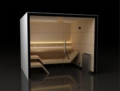 Sauna Modern Line - zachwyca prostotą i minimalistycznym wzornictwem.Ściany wykonane z geometrycznych, prostych, powtarzających się form w kształcie prostokątnych paneli drewnianych. Ławy o niebanalnym kształcie, ważna jest sama ich postać. Najwyższa jakość zarówno jeśli chodzi o design jak i wykonanie. Czyste białe światło wydobywające się zza oparcia tworzy efekt przestronności a zarazem harmonii. Saunas, Modern, Bathtub, Relax, Wellness, Mirror, Bathroom, Furniture, Home Decor