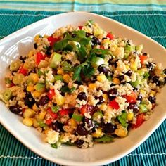 "Black Bean and Couscous Salad | ""This is a great salad for a buffet, with interesting textures and southwest flavors combined in one delicious salad. Leftovers store well refrigerated for several days."""