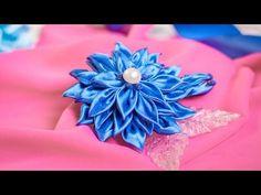 Цветок Канзаши с Заостренными Листьями (мастер класс) / DIY Kanzashi