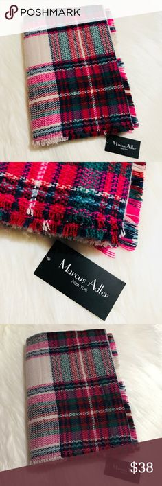 "Plaid Tartan Blanket Scarf NWT! Plaid blanket scarf with colors taupes, pinks, reds and blues. About 27"" in width and 74"" in length. No trades. No outside sales. First two photos are filtered. Second two depict product's true colors. Marcus Adler Accessories Scarves & Wraps"