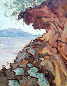 """'Malaspina Galleries' - 14"""" x 11"""" oil on board Painting Studio, Painting Process, Painting Videos, Canadian Artists, Landscape Paintings, Landscapes, Vancouver Island, Paintings For Sale, West Coast"""
