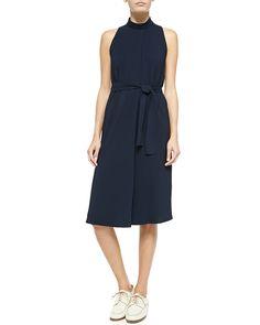 Sleeveless Tie-Waist Crepe Dress