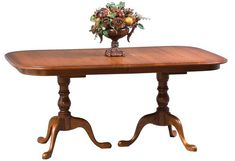 Amish Queen Anne Double Pedestal Extension Dining Room Table Elegant and formal Queen Anne style captured in a magnificent dining table. Comes in choice of wood and finish. #DutchCrafters