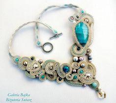 """Naszyjnik/kolia sutasz (soutache)  """"Sahara"""" w Galeria Bajka Soutache Jewelry na DaWanda.com"""