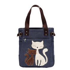 Cute Cat Women Canvas Handbag Casual Tote Bag Large Lady Handbags Women Solid Shoulder Bag Canvas Bag Sac a main Bolsos Mujer Canvas Handbags, Tote Handbags, Denim Handbags, Big Tote Bags, Women's Bags, Cat Bag, Cat Purse, Canvas Shoulder Bag, Large Bags
