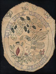 c.1529: embroidery by Anne Boleyn's mother, Elizabeth: Anne's falcon is depicted pecking at Katherine of Aragon's pomegranate. (Subversive!)