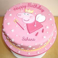 Write Name on Princess Peppa Pig Birthday Wishes Cake