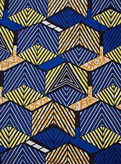 tissu géométrique bleu jaune et orange