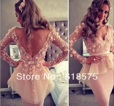 Coral Tube V Neck Short Tulle Celebrity dress with  Long Sleeves and Peplum Inspired by Myriam fares US $190.00