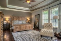 Traditional Master Bedroom with Hardwood floors, flush light, Restoration Hardware Montpellier Panel Bed with Footboard