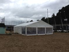 Beach marquee, pano windows, 9m wide, 12m long. #beach_marquee #marquee_hire #camelot_marquees