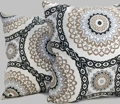 French Country Cottage Black Brown Stone Gray Pillow Cushion Cover Zippered Sofa Throw Pillow Chair Pillow Tan Grey Decor Geometric Pillow  Beautiful geometric circular pattern in black, brown, and stone gray/grey.  Works perfectly for a French Country cottage feel or beachy upscale look.  Fabric Care: 100% Cotton Dry Cleaning Recommended  Completion Time: The covers are sewn after the order is received. The turn around is typically one (1) day after the order is received if fabric is on…