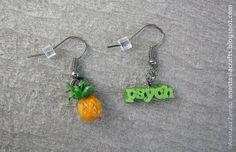 """Psych TV Series Inspired Pineapple Earrings via Etsy: who here wonders how they got the """"psych"""" font so perfect!"""